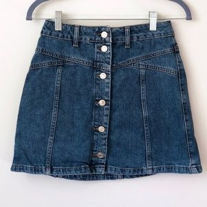 Topshop Button-Down Denim Skirt